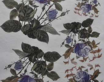 Blue Roses Rice Paper. Decoupage Paper. Thin Rice Paper. Decorative Paper #F277G