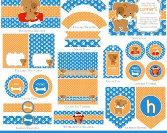 Puppy Party Set, Puppy Party Printables, Puppy Birthday printables, Puppy Party package, Puppy Party Decorations, PUPPY INVITATION INCLUDED
