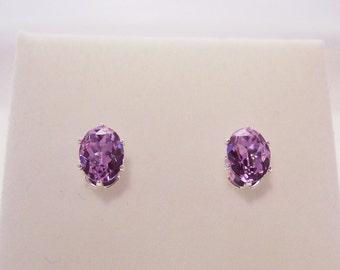 Violet Swarovski Crystal Stud Earrings