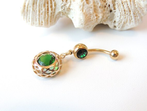gold belly ring emerald green belly ring may birthstone