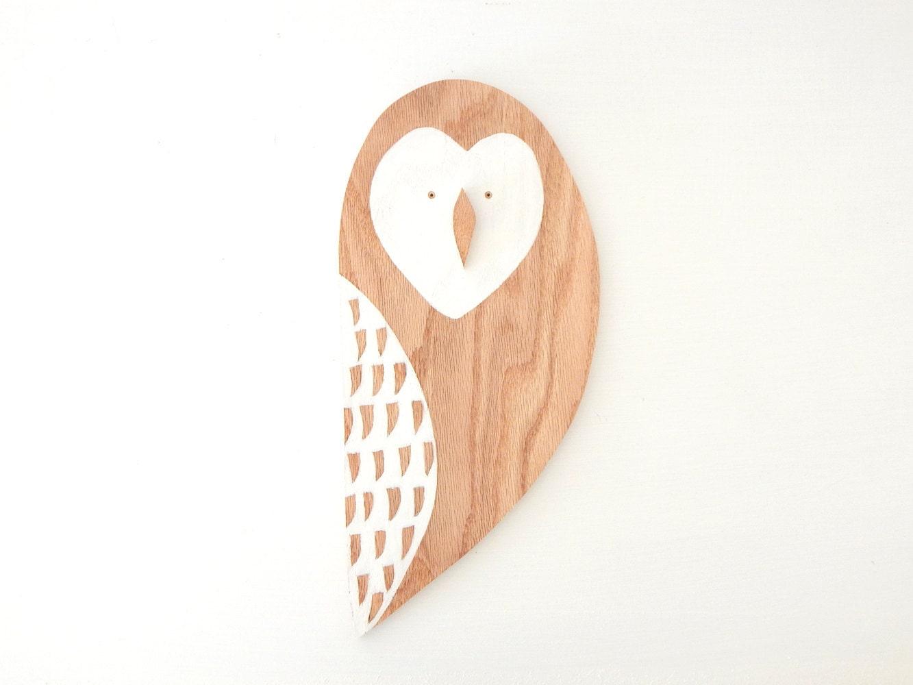 Wooden Owl Wall Decor : Wooden owl wall hanging art decor oak