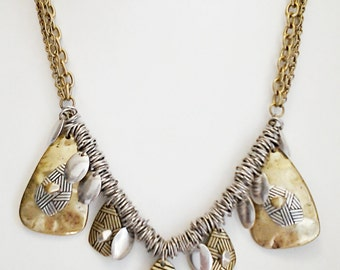Silver and Bronze Chain Necklace / Bronze and Silver Chain Bib Necklace.