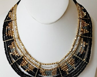 Black, Gold and Silver Statement Necklace / Multi Strand Necklace / Beaded Necklace.
