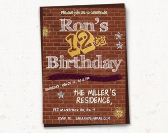 Teen Birthday Invitation - PRINTABLE, Brick invitation, Graffiti birthday invite, Street art, comics, 11th, 12th, 13th, 14th, netural gender