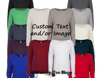 Women's Custom Logo and/or Text Terry Scoop Neck Longsleeve Shirt - Choose Your Font and Font Color