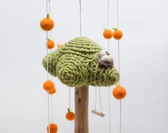 Oranges orchard, knitted oranges tree, needle felted oranges, bird nest, room decor, nursery mobile, nature mobile, baby gift
