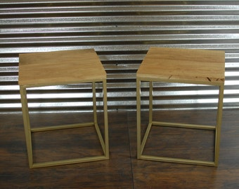 Reclaimed Wood Nightstand, Industrial Modern Side Table, Gold Wood Table, Small Wood Table, Metal End Tables