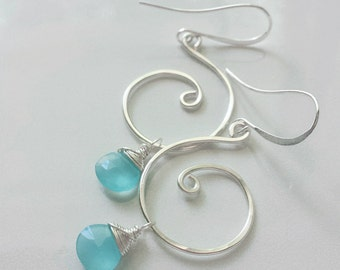 Aqua Chalcedony Earrings, Silver Swirl Earrings, Chalcedony Jewelry, Aqua Blue Earrings