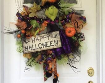 Witch Wreath-Fall Wreath-Halloween Wreath-Pumpkin Wreath-Whimsical Wreath-Rustic Wreath-Halloween Decor-Autumn Wreath