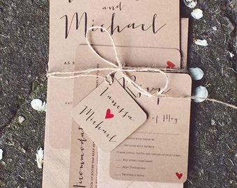 Krafted Love II Wedding Invitation Set - Eko Kraft Wedding Invitations - Sample Pack or Deposit - Wedding Invitations by Pineapple