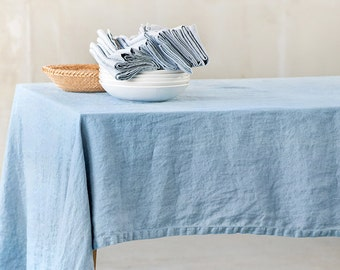 Washed linen tablecloth in swedish blue / Handmade linen tablecloth