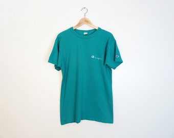 Vintage 90's Champion 100% Cotton Teal Tee Size M