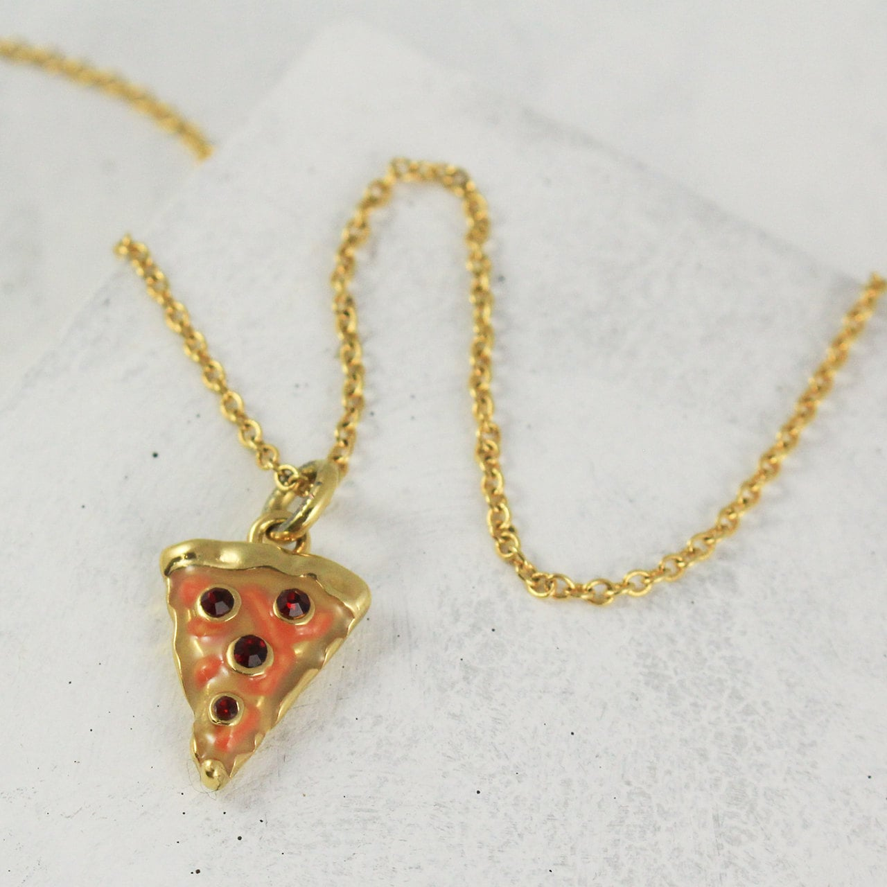 pizza necklace pepperoni slice gold by wildflowerandcompany