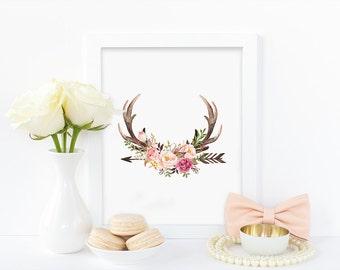 Digital print, antlers print, watercolour roses print, watercolor print, antlers and roses, tribal print, floral print, instant download