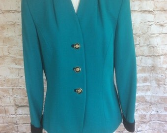 Vintage Jacket Turquoise Green Wool Crepe  With Navy Trim By Kasper For A.S.L. Classic Wedding Occasion Christening c1980s Fit 10 U.K.