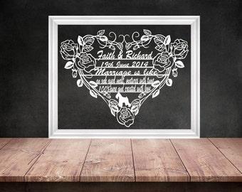 Wedding Papercut, 1st Anniversary Gift, Anniversary Papercut, Scherenschnitte, Heart Papercutting, Custom Papercut, Bespoke Wedding Gift