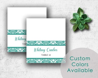 DIY Printable Wedding Name Place Cards PDF - Elegant Ocean Teal Floral Damask (or Your Choice in Colors!) (3.5X2 Folded)