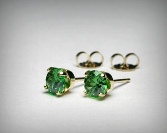 14K Simulated Emerald Earrings, Green CZ Earrings, Green Imitation Emerald Earring Studs, 14K Yellow Gold May Birthstone Post Stud Earrings