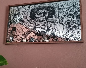 Day of the Dead Art Mirror Dia de los Muertos Wall Art Posada Skull Running with Sword Day of the Dead Home Decoration