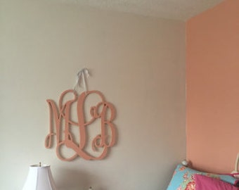 Wooden Monogram Wall Hanging painted dorm room monogram monogram wall hanging wooden