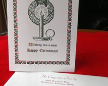 Letterpress Happy Christmas Card with Personalized Envelope (Set of 5)