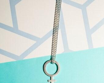 Sterling silver female symbol. Venus, gender, feminist, charm.