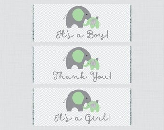 Elephant Printable Baby Shower Candy Bar Wrapper - Printable Green Elephant Themed Hershey Chocolate Bar Wrapper - Instant Download - 0024-G