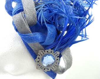 Royal blue and silver grey fascinator hat, headpiece, hatinator