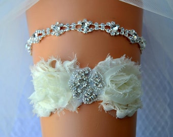 Wedding Garter, Bridal Garter, Wedding Garter Set, Shabby Chic Flower Crystal Bridal Garter Set, Ivory Bridal Garter Belt