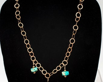 Turquoise chain necklace, gold filled necklace, chain necklace, turquoise necklace