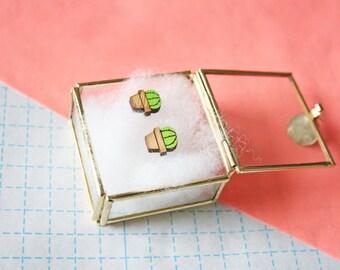Cacti earrings - lasercut -cactus - cute - bamboo