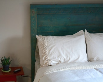 Rough Cut Headboard - Reclaimed wood headboard with distressed painted  finish