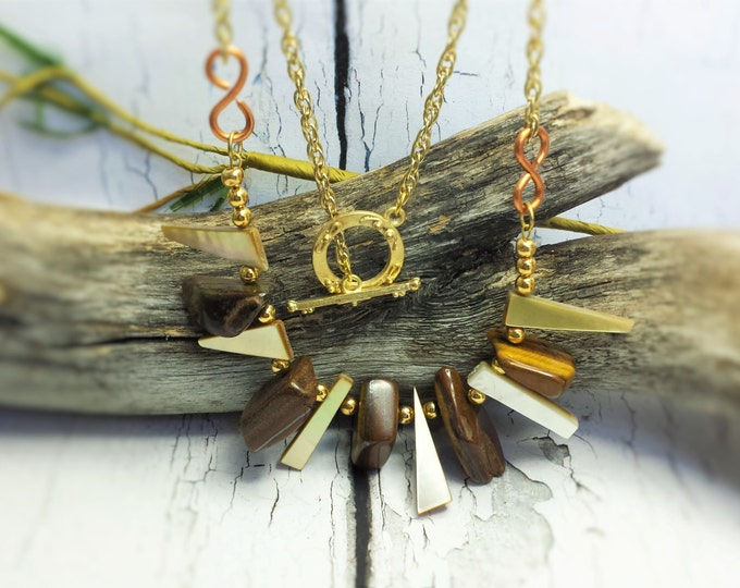 Fall Jewelry Trends ~ Anniversary Gift For Her ~ Simple Boho Necklace with Large Tiger Eye Stones ~ Tribal Statement Necklace For Women