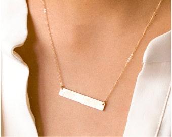 Personalized Bar Necklace, Nameplate Necklace in Sterling Silver, Rose Gold Filled, 14kt Gold Filled, Monogram Bar H638