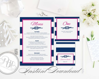 Nautical Menu, Table Number, PlaceCard Template-INSTANT DOWNLOAD-DIY Editable Text-Nautical Navy White Stripe Pink with Reef Knot-Deirdre