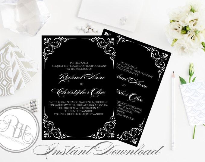 "Black & White Wedding Invitation - INSTANT DOWNLOAD Template- 5x7 PDF Editable Text Only-Elegant Black White Corner Frame Design-""Samantha"""