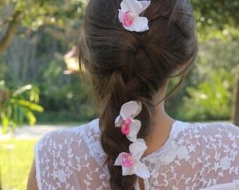 Elegant Orchids- Flower Braid Hair Extension