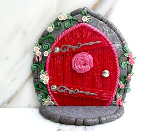 Fairy Door: Rosey Red Doorway with Flowering Vines