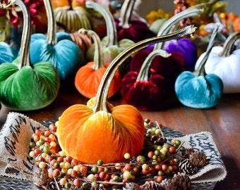 1 Medium Marigold Velvet Pumpkin, Fall Decor, Table Centerpiece, Homemade Rustic Decoration