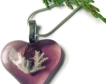 Heart Necklace, Pink Heart Pendant, Love Necklace, Pink Heart, Fossil, Science jewelry, Glass Heart, Fused Glass Necklace, Valentines Gift