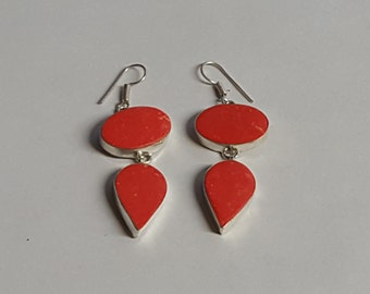 Sterling Silver Coral Earrings ~ Huge Dangle Shell ~ Mod Geometric Statement ~ Birthday Valentines Christmas Anniversary ~ Neon Orange