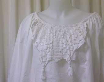 White Cotton Peasant Pirate Blouse with Crochet Appliques, Size M/L