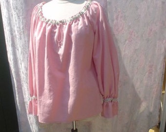 Pink Linen, Long Sleeve, Pirate, Fairy, Peasant Blouse, Size S/M