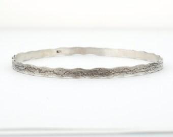 Sterling Silver Bracelet For Women // 1 Blackened Silver  Bracelet // Delicate Bracelet // Women Bangle Bracelet