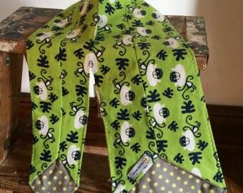 Flannel Scarf Tie - Monkey & Gray dot Youth Super Soft custom, Winter fashion neck scarf