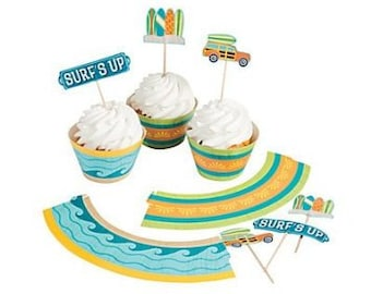 The Surfing party Cupcake Wrappers with Picks