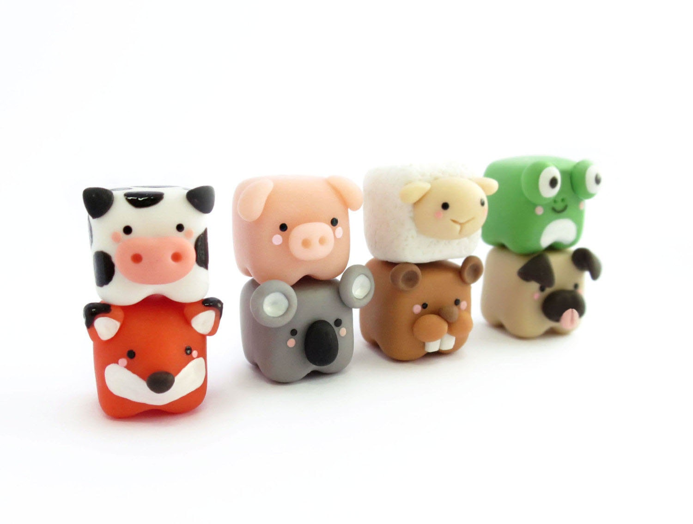 Cute cubed animal miniature Polymer Clay Figure Cute cubed