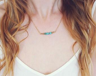Turquoise Bead Bar Necklace - Turquoise Gemstone Necklace - Tiny Gemstone Necklace - Turquoise Bar Necklace - Turquoise Necklace