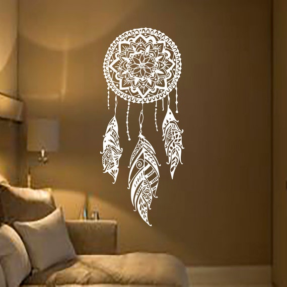 dream catcher decal feather sticker boho dreamcatcher by cozydecal. Black Bedroom Furniture Sets. Home Design Ideas