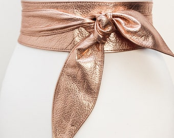 Rose Gold Leather Obi Belt | Rose Gold Sash Belt | Leather Wrap belt | Corset Belt | Bridesmaid Belt | Bridal Belt | Plus Size Accessory